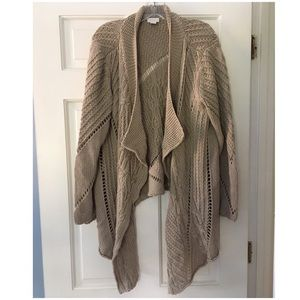 Chico's Cable Knit Waterfall Cardigan Beige 3 XL